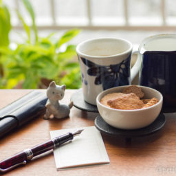 送り出す前にネコと記念撮影。少し涼しいのでカフェオレの今朝の #コーヒー