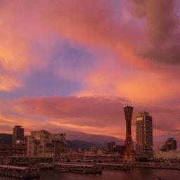 台風前後、神戸にて
